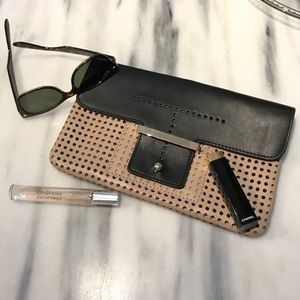 Ann Taylor Perforated Clutch Nude and Black NWOT